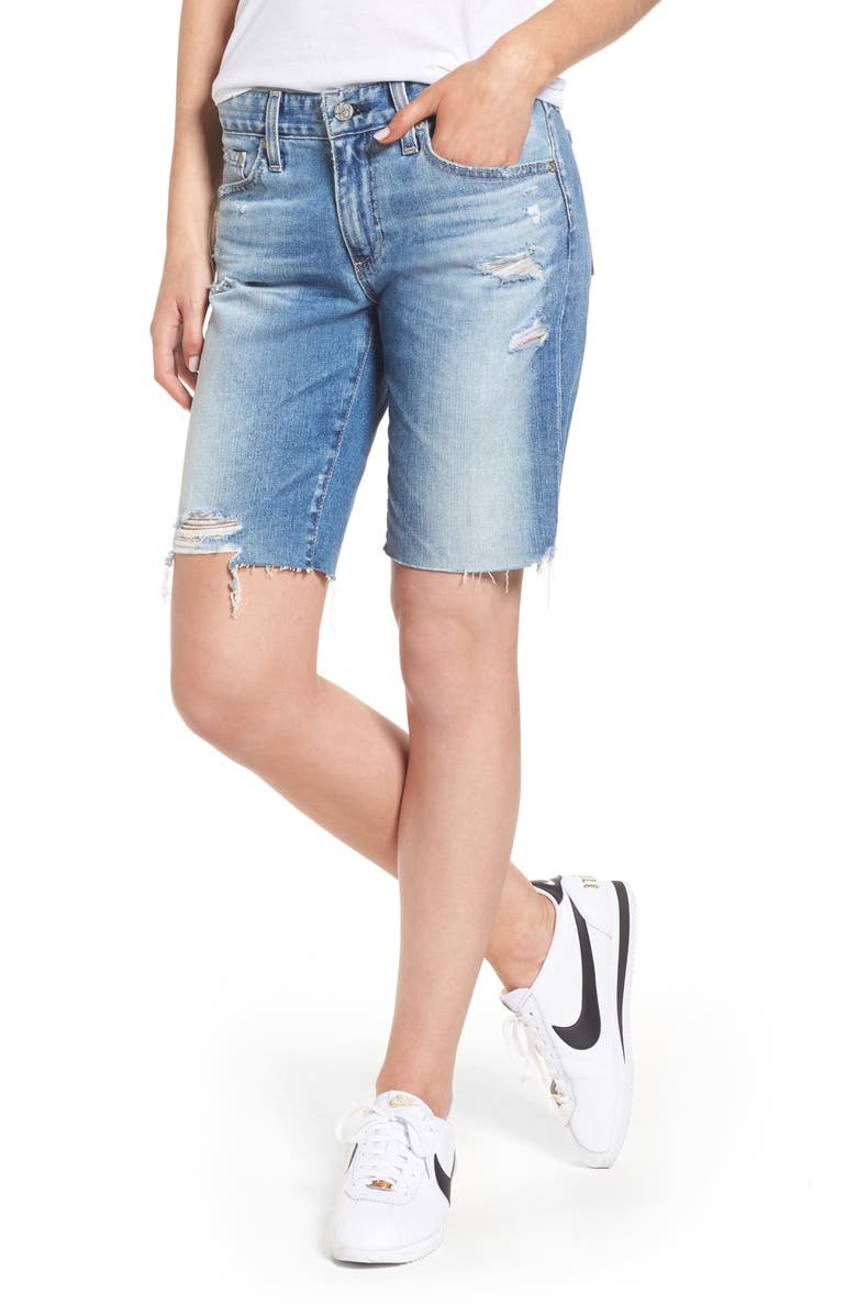 AG Nikki Cutoff Denim Shorts, Main, color, 16 YEARS INDIGO DELUGE DESTR