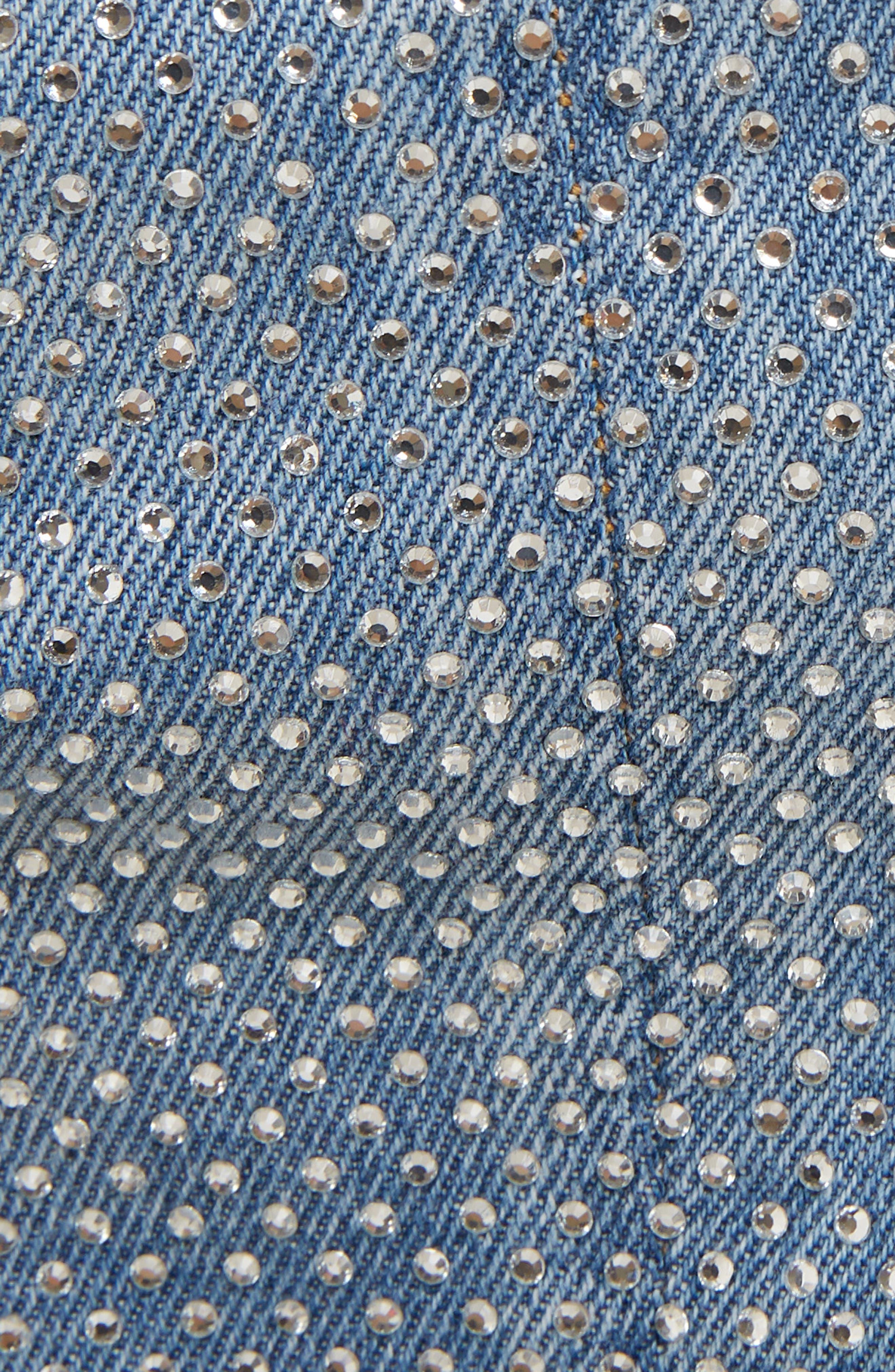,                             Crystal Studded Denim Skirt,                             Alternate thumbnail 5, color,                             SAD BLEU/ ARGENT