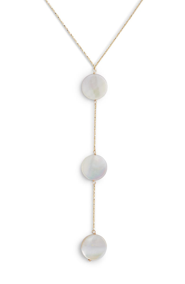 MARIDA Row Mother of Pearl Y-Necklace, Main, color, PINK PEARL/ GOLD