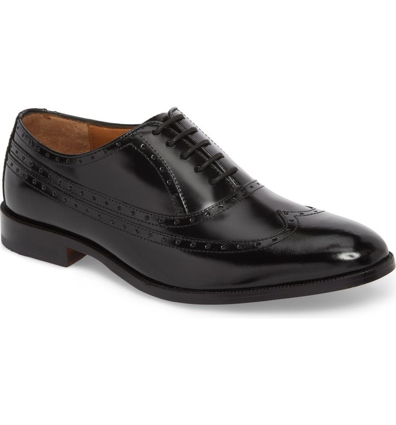 JOHNSTON & MURPHY Bradford Wingtip Oxford, Main, color, BLACK LEATHER