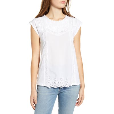 Lucky Brand Woven & Knit Cotton Top, White