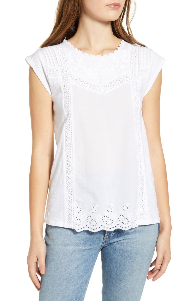 LUCKY BRAND Woven & Knit Cotton Top, Main, color, BRIGHT WHITE