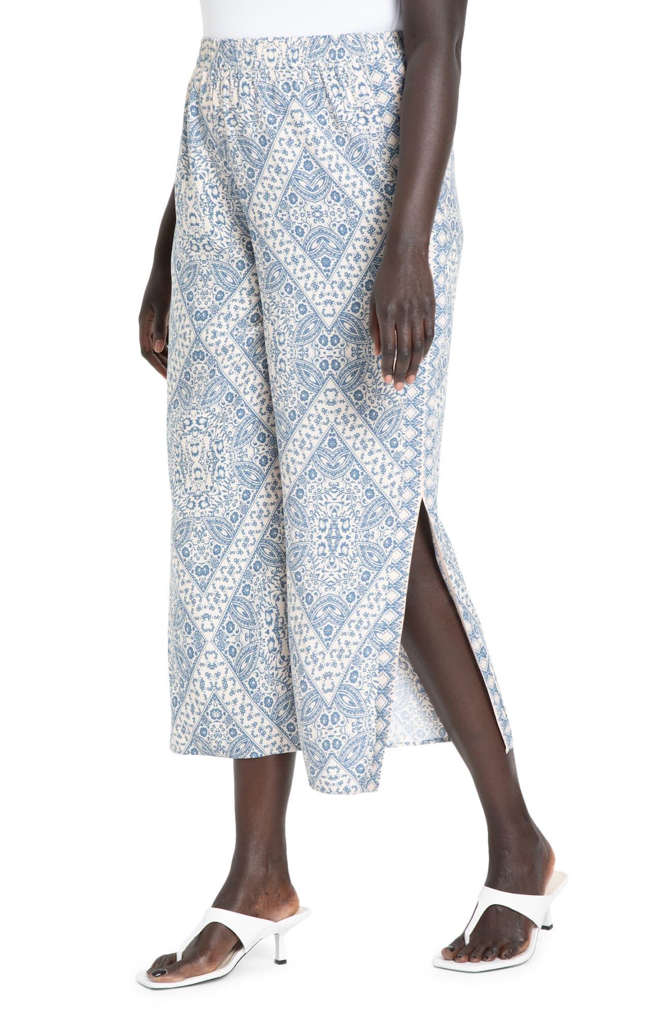 Tile Print Side Slit Wide Leg Pants