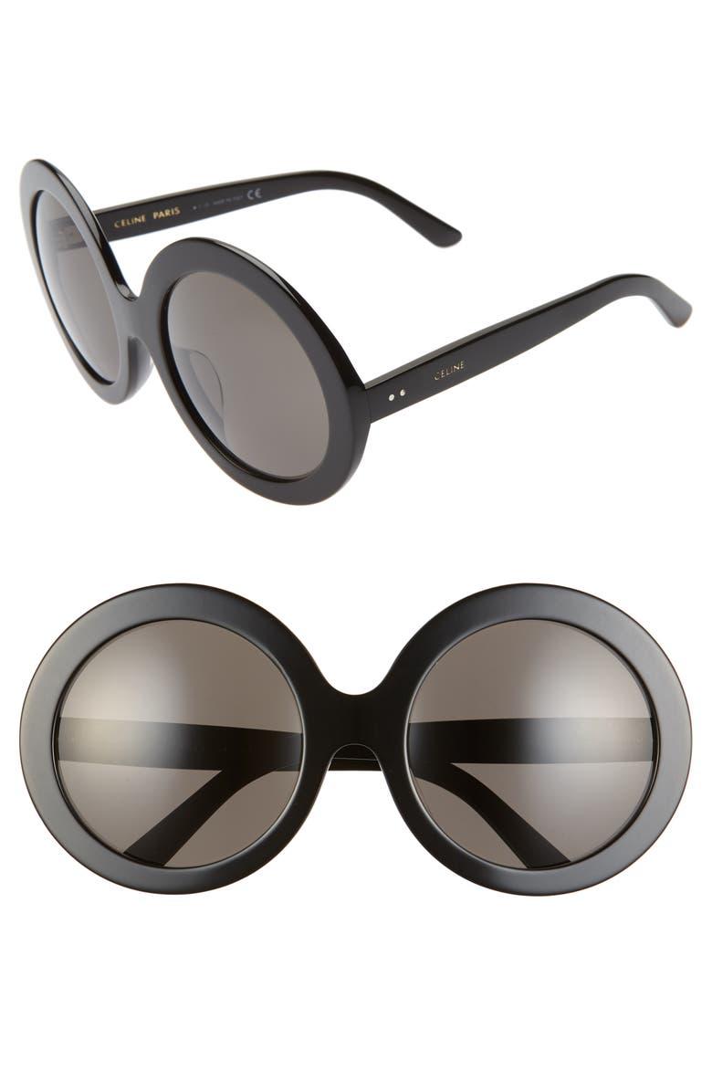 CELINE 61mm Round Sunglasses, Main, color, SHINY BLACK/ SMOKE