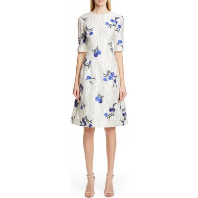 Lela Rose Holly Floral Jacquard Fit & Flare Dress, Ivory