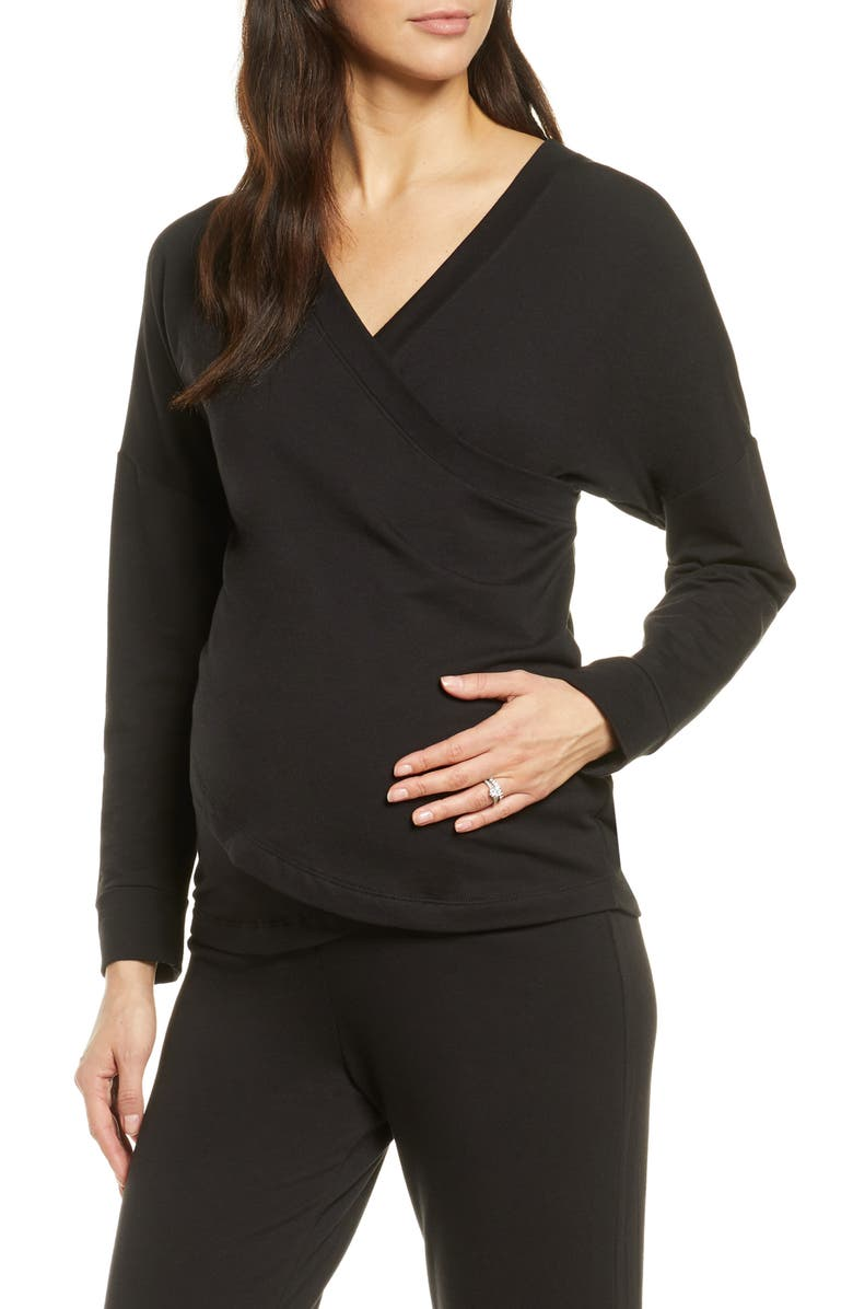 BELABUMBUM Athleisure Nursing/Maternity Top, Main, color, BLACK