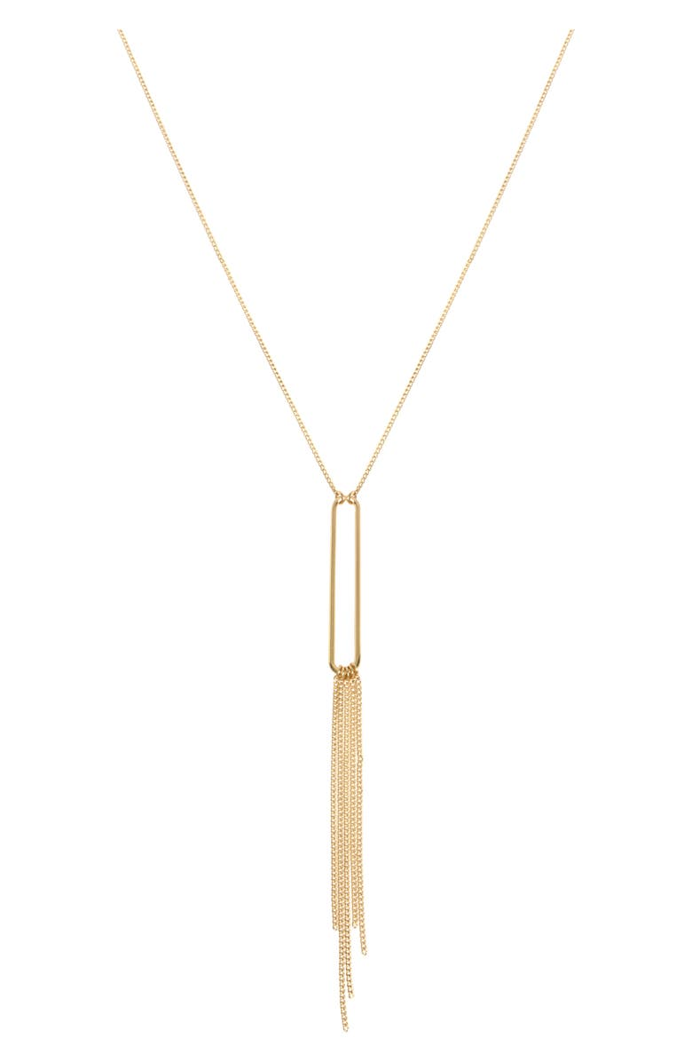 ALLSAINTS Delicate Fringe Y-Necklace, Main, color, GOLD