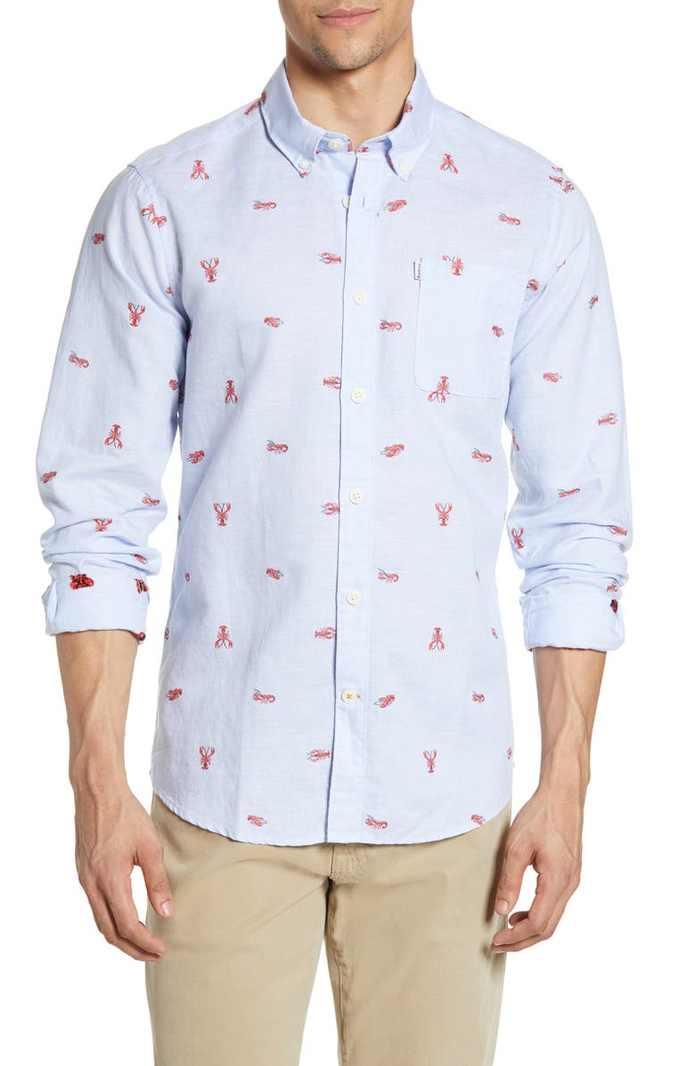 BARBOUR Lobster Tailored Fit Embroidered Shirt, Main, color, ADMIRAL BLUE