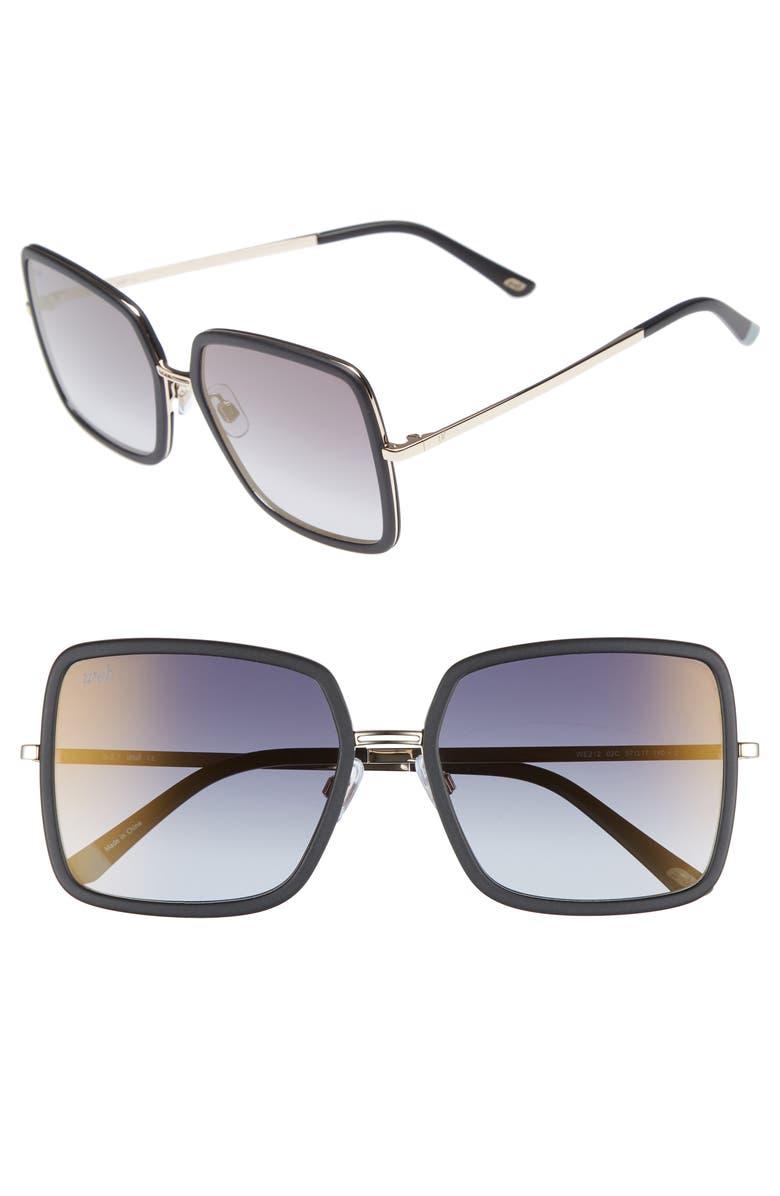 WEB 57mm Sunglasses, Main, color, BLACK/ SMOKE