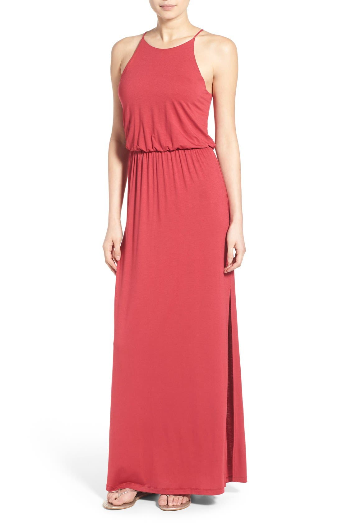 ,                             High Neck Maxi Dress,                             Main thumbnail 114, color,                             600