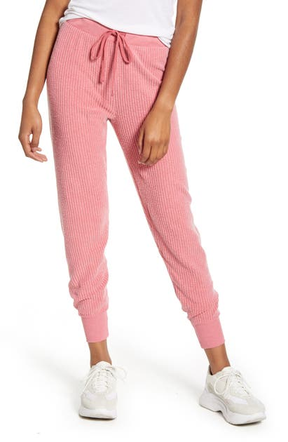 Wildfox Jack Ribbed Cotton Blend Jogger Pants In French Rose