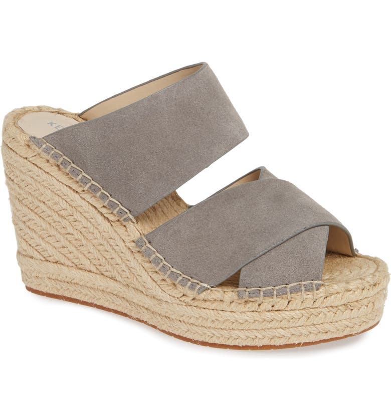 KENNETH COLE NEW YORK Olivia Wedge Slide Sandal, Main, color, GREY SUEDE