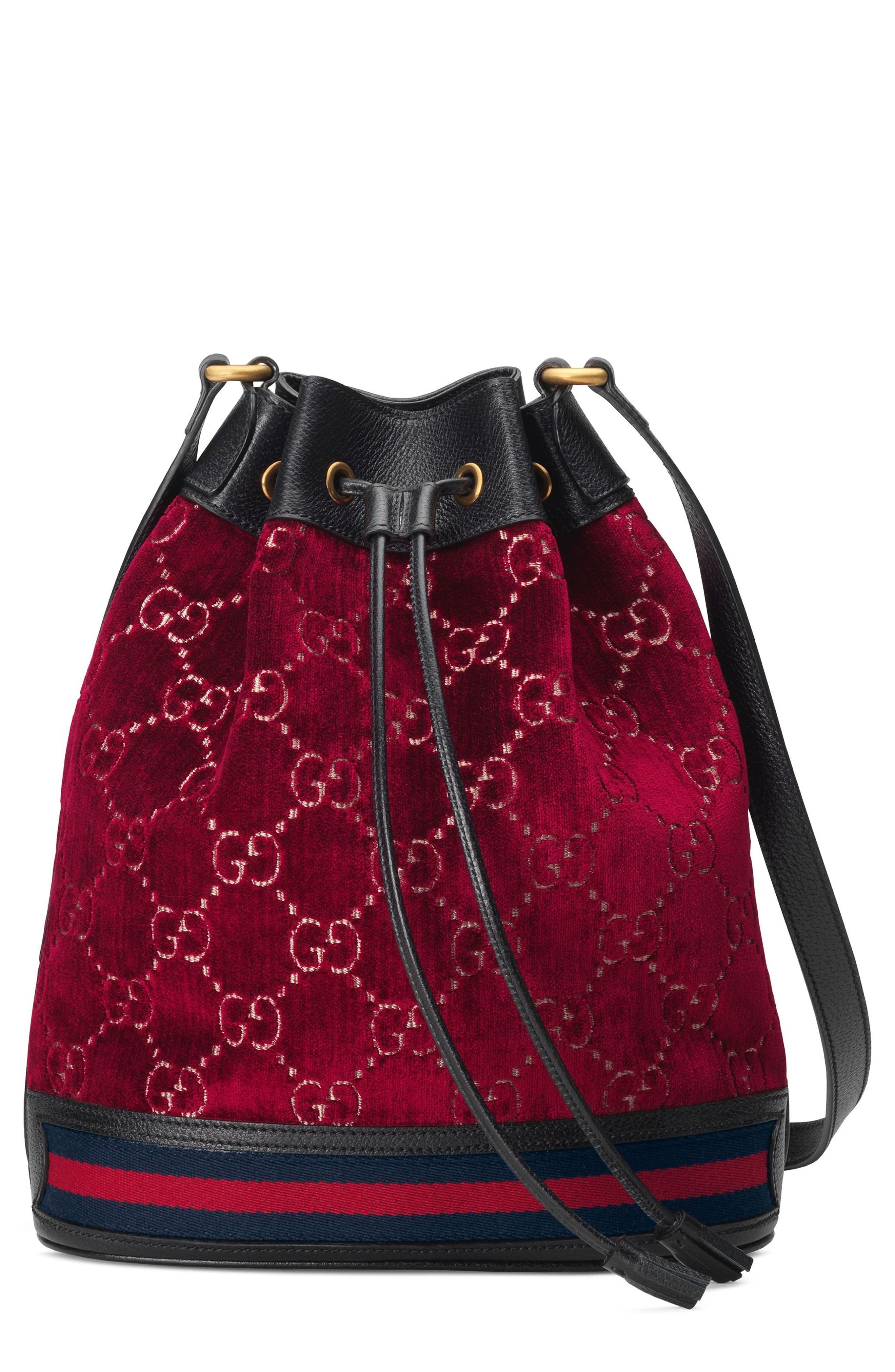 6e91b95b495d Gucci Gg Velvet Bucket Bag - Red