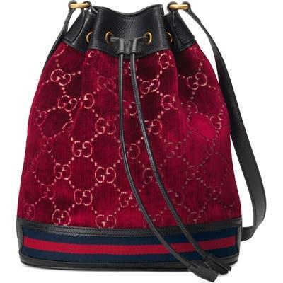 Gucci Gg Velvet Bucket Bag - Red