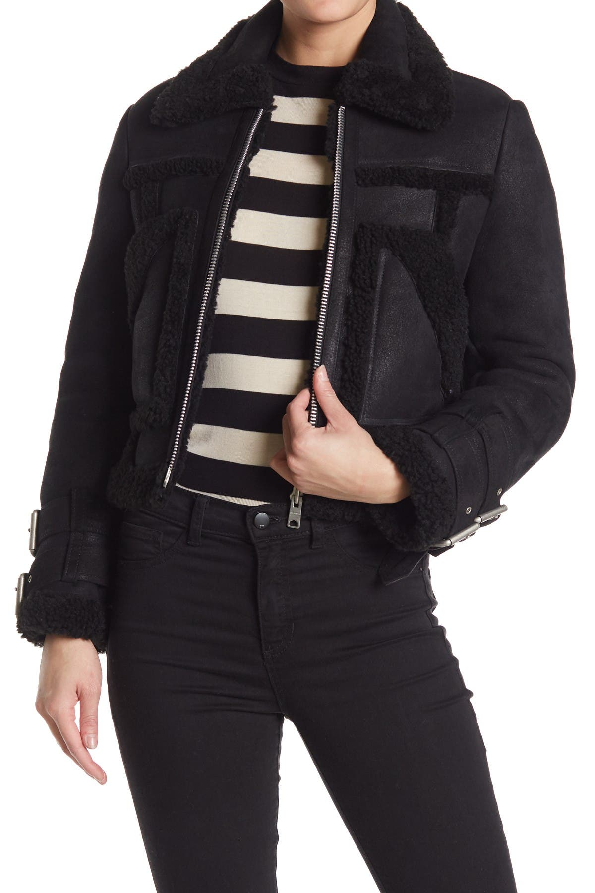 Image of ALLSAINTS Asher Leather Genuine Shearling Lined Jacket