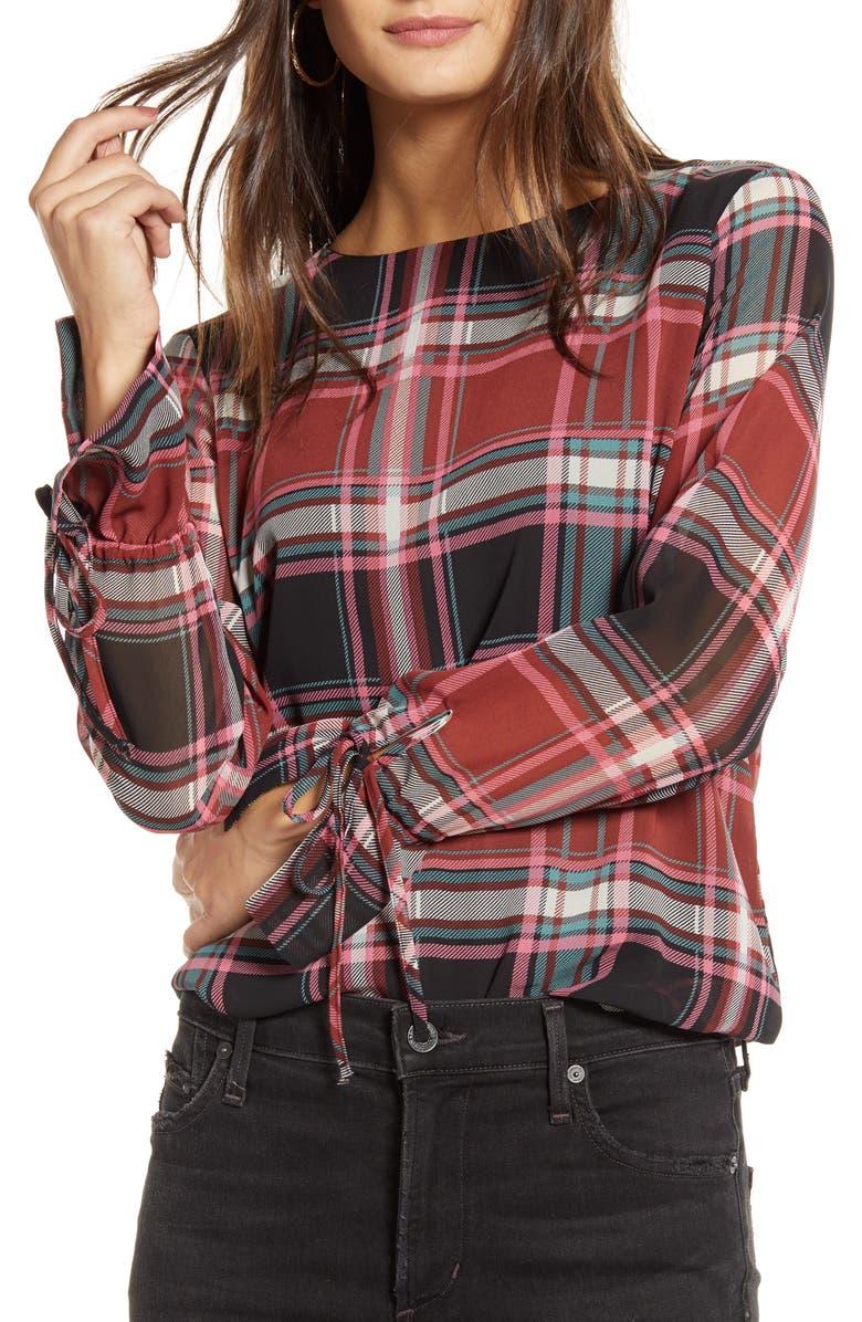 VERO MODA VERA MODA Nora Plaid Tie Cuff Top, Main, color, MADDER BROWN