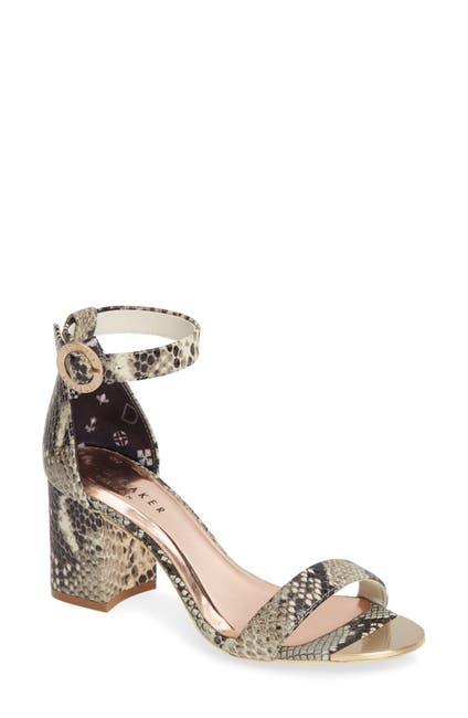 Image of Ted Baker London Manyap Leather Embossed Snake Skin Block Heel Sandal