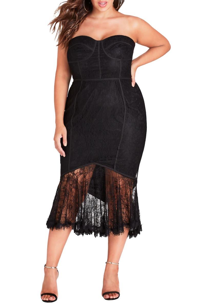 CITY CHIC So Seductive Ruffle Hem Lace Body-Con Dress, Main, color, 001