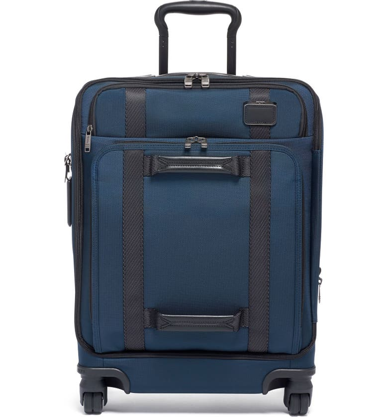 TUMI 22-Inch Front Lid Recycled Wheeled Dual Access Continental Carry-On Bag, Main, color, NAVY