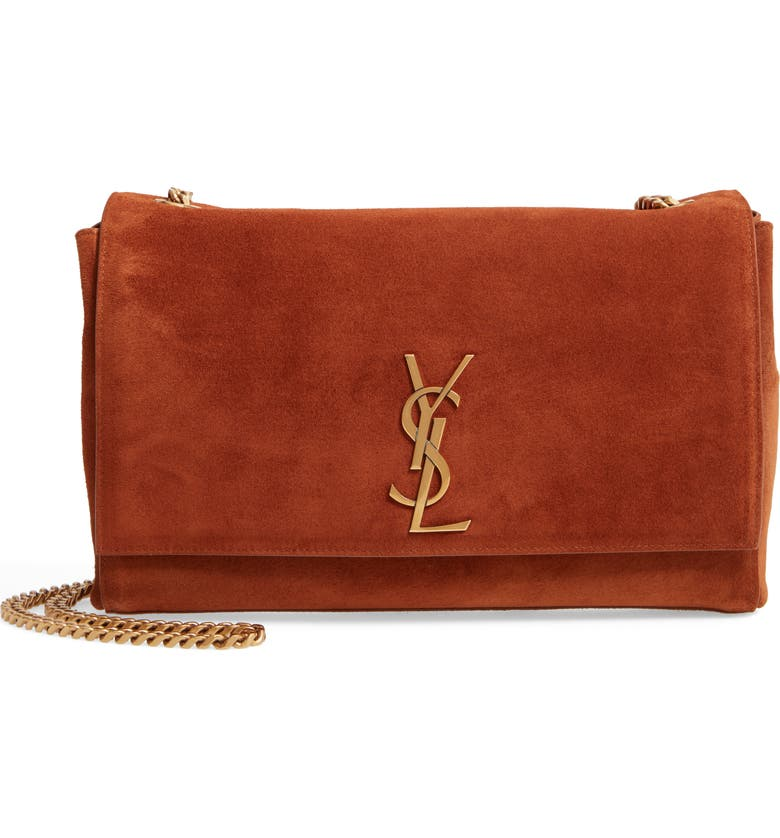 SAINT LAURENT Kate Reversible Leather Shoulder Bag, Main, color, BRICK
