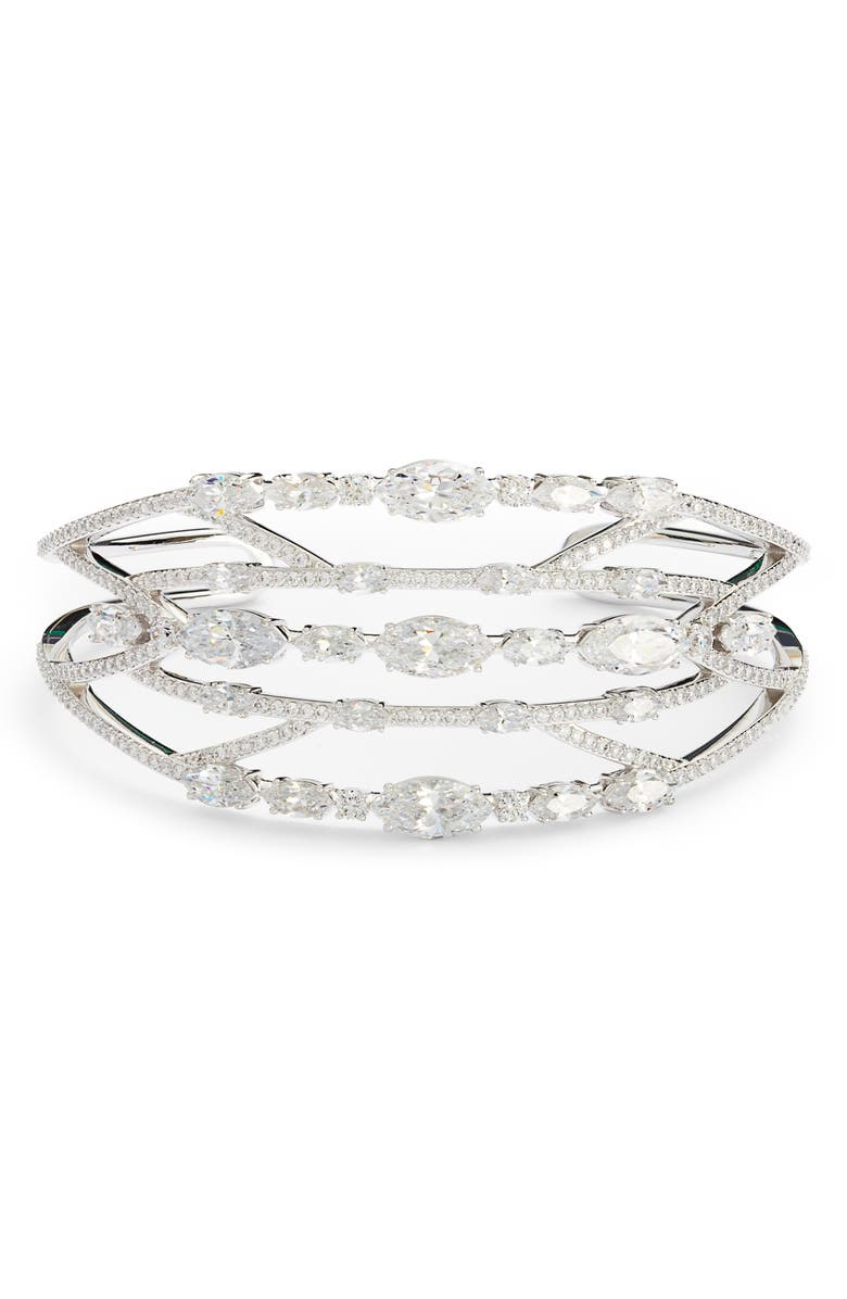 NADRI Multi Row Open Cuff, Main, color, SILVER