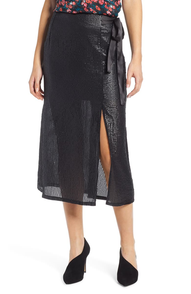 SOMETHING NAVY Wrap Sequin Midi Skirt, Main, color, 001