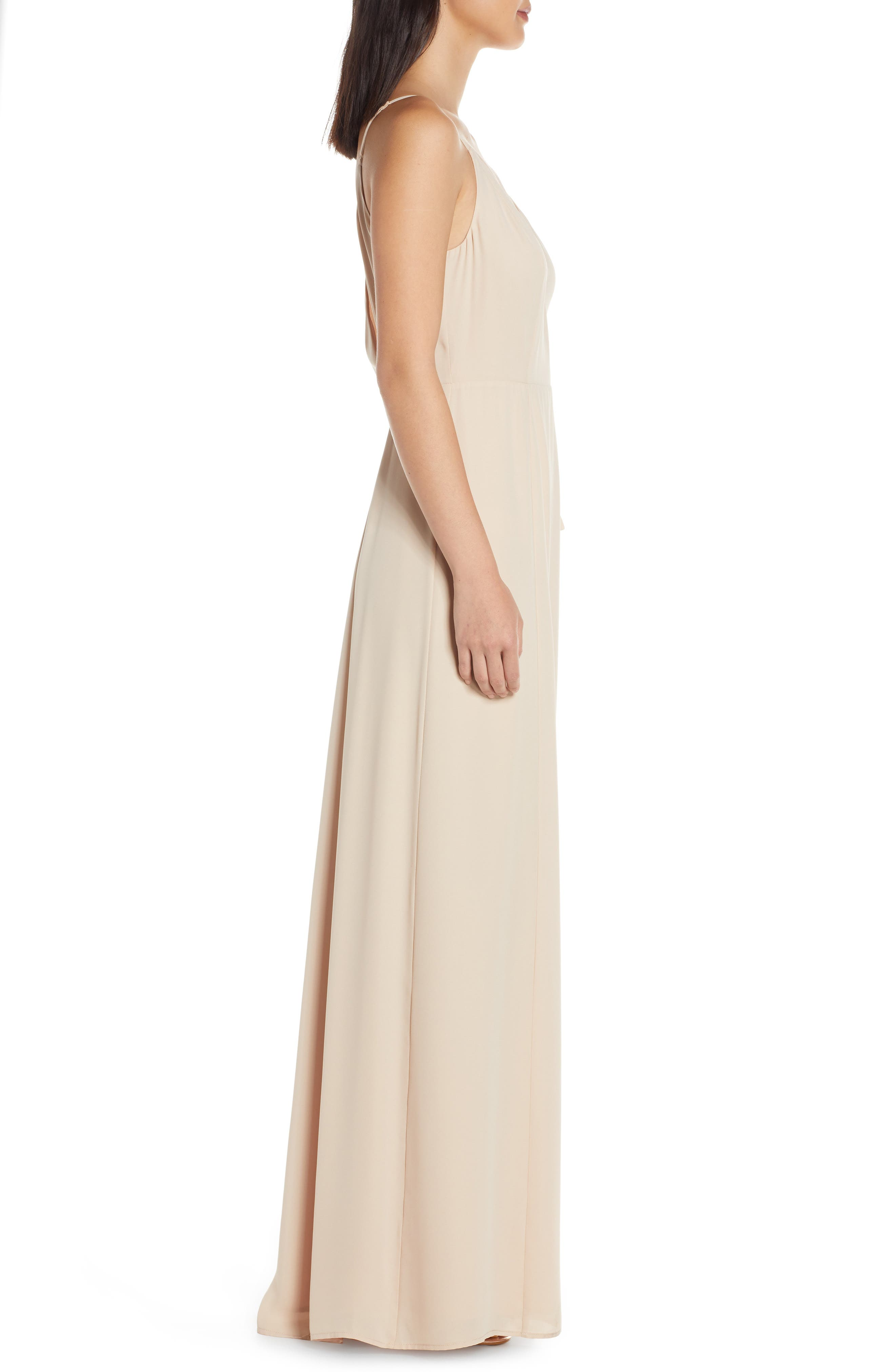 ,                             The Angelina Slit Wrap Gown,                             Alternate thumbnail 4, color,                             CHAMPAGNE