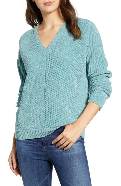 Lucky Brand Sweaters CHEVRON RIBBED CHENILLE SWEATER