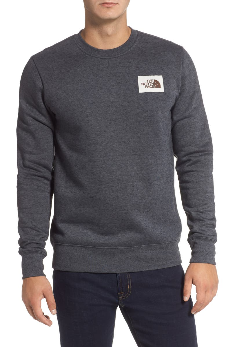 THE NORTH FACE Heritage Crewneck Sweatshirt, Main, color, TNF BLACK HEATHER