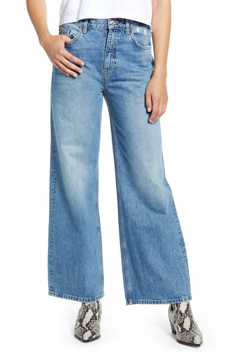 TOPSHOP High Waist Wide Leg Jeans, Main, color, 420