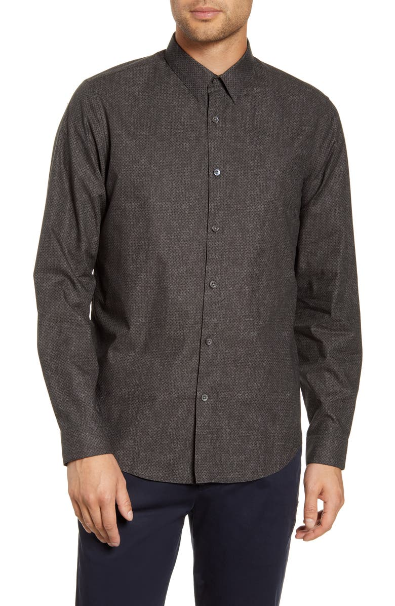 THEORY Tone Dot Print Button-Up Shirt, Main, color, BLACK