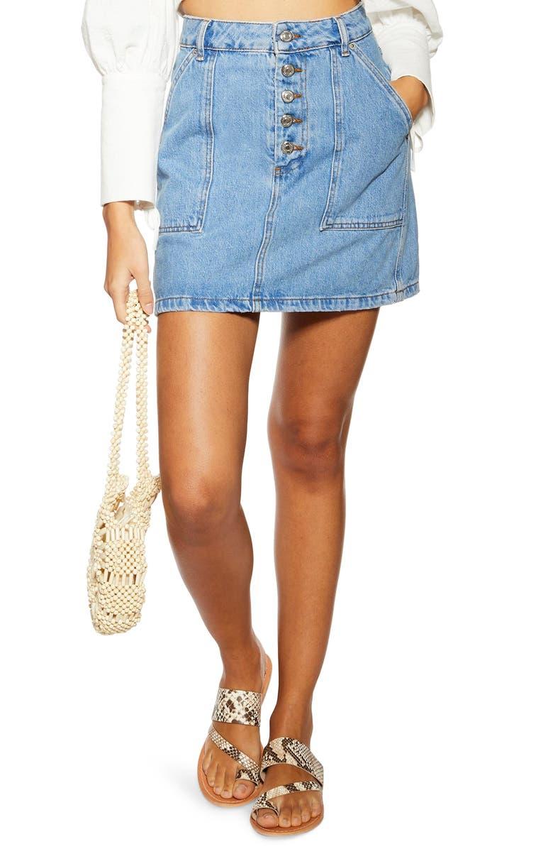 TOPSHOP Denim Button Miniskirt, Main, color, MID DENIM