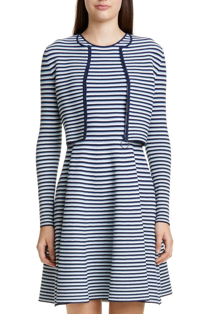 AKRIS PUNTO Stripe Cardigan, Main, color, BLUE MULTI STRIPE