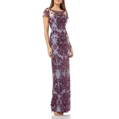 Js Collections Leaf Embroidered Evening Dress, Purple