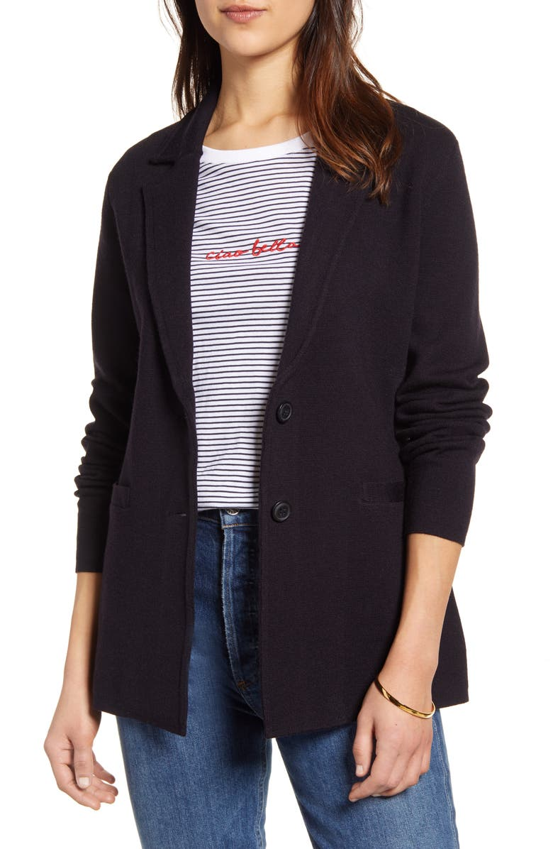 1901 Stretch Wool Blend Sweater Blazer, Main, color, NAVY PEACOAT
