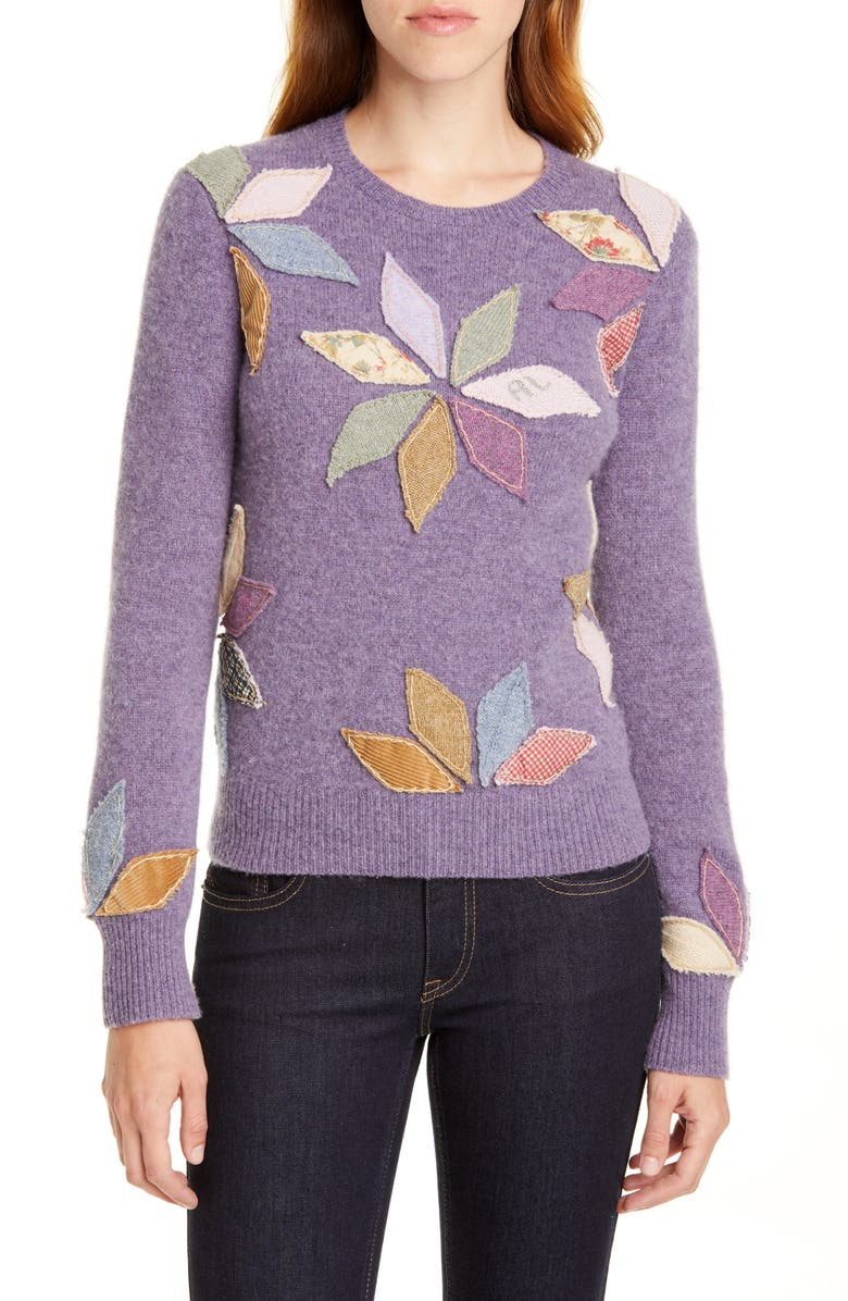 POLO RALPH LAUREN Cashmere Sweater, Main, color, PURPLE HEATHER