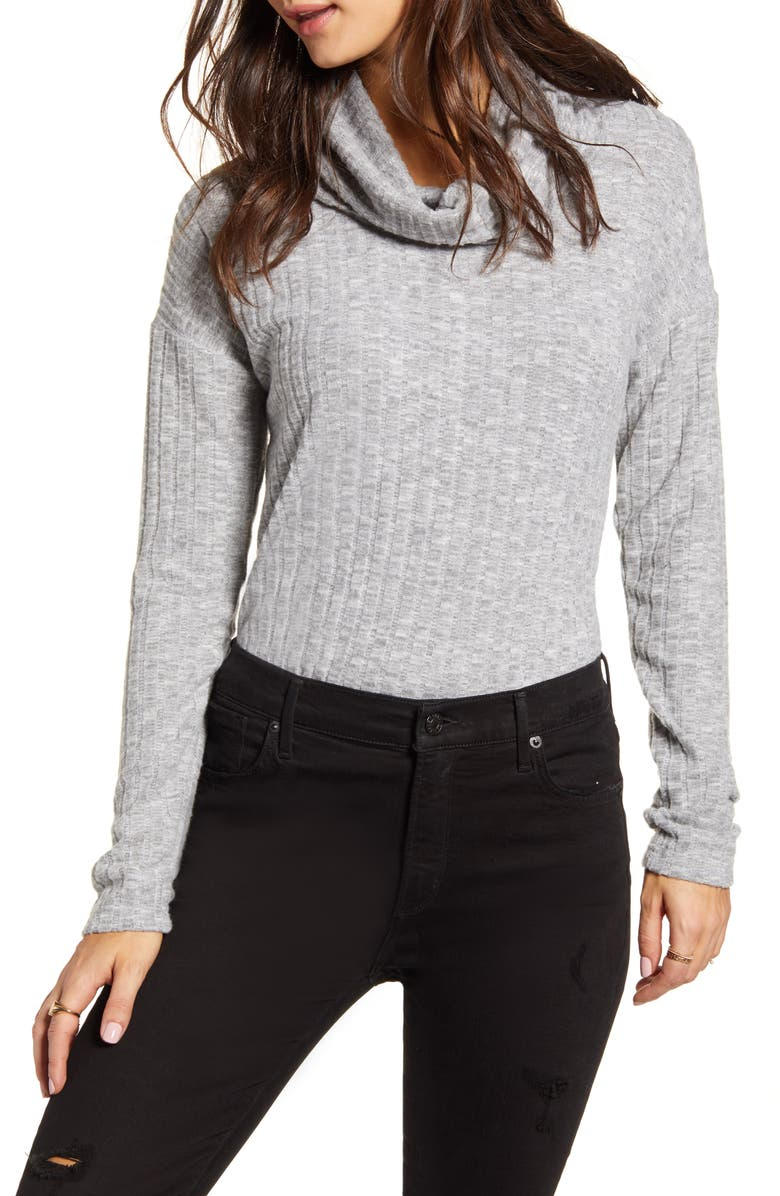 BP. Cozy Ribbed Turtleneck Top, Main, color, GREY MEDIUM HEATHER