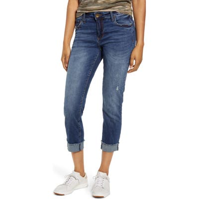 Kut From The Kloth Amy Frayed Crop Straight Leg Jeans, Blue