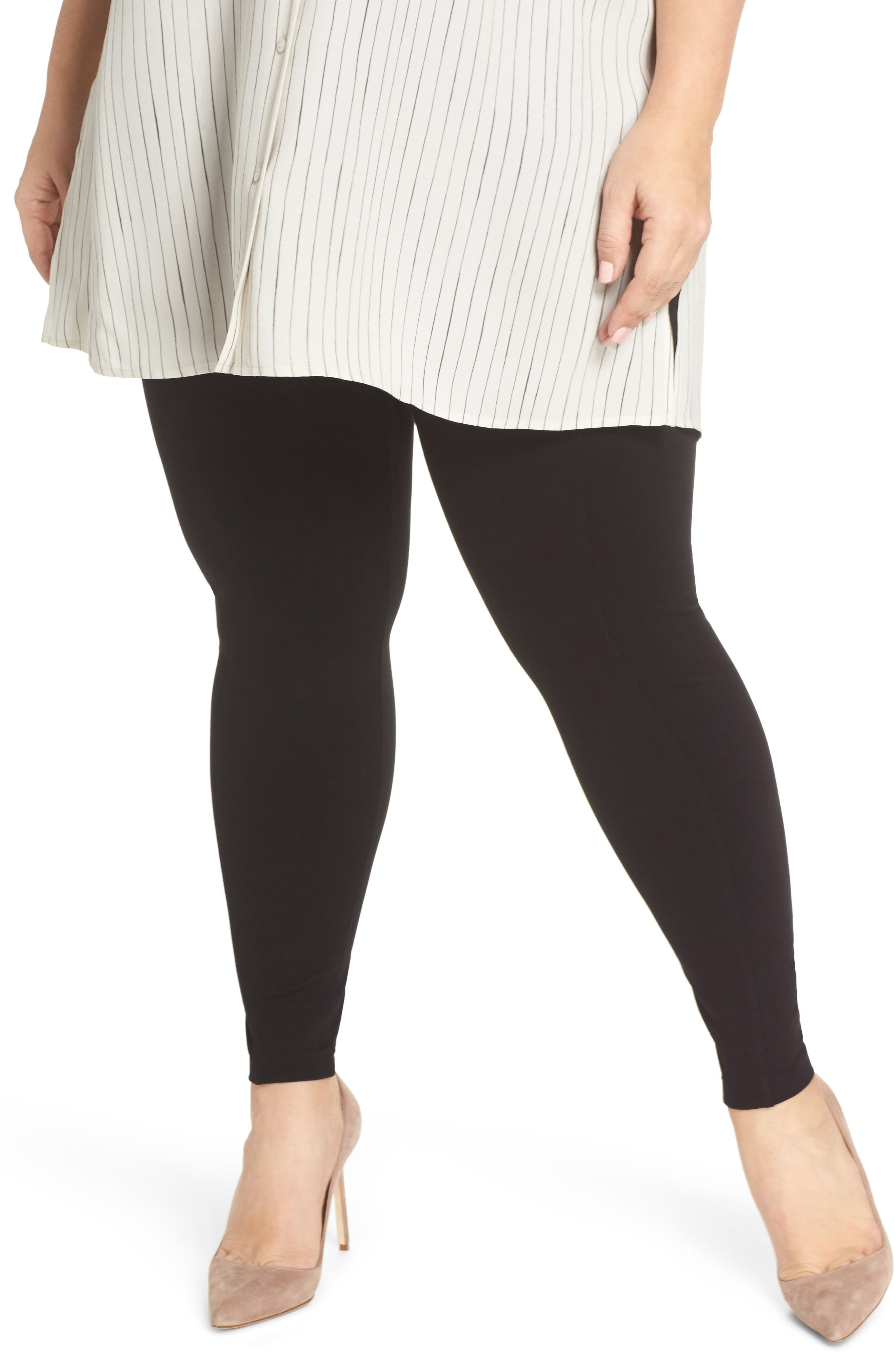 Plus Size Liverpool Reese Pintuck Ponte Leggings, Black