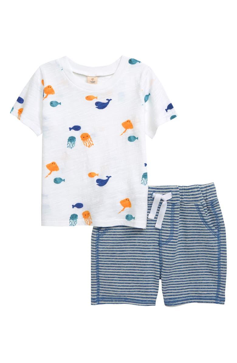 TUCKER + TATE Ocean Print Graphic Tee & Shorts Set, Main, color, WHITE FISH FRENZY