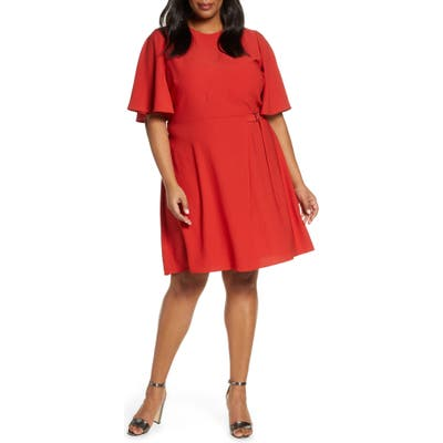 Plus Size Vince Camuto Flutter Sleeve Rumple Satin Dress, Red