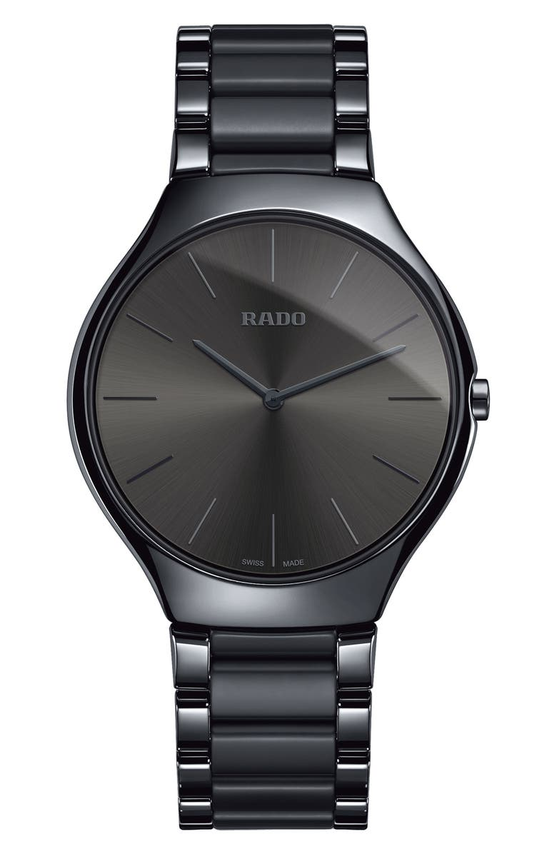 RADO True Thinline Ceramic Bracelet Watch, 39mm, Main, color, BLACK