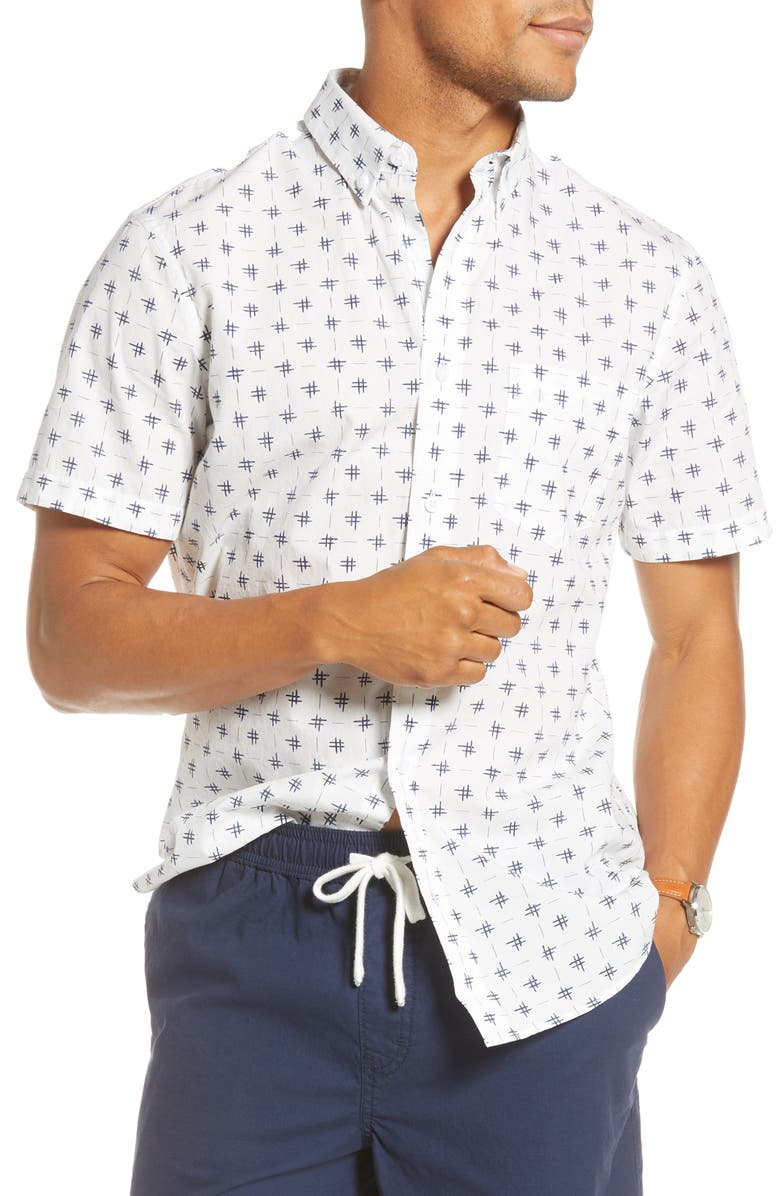 1901 Trim Fit Short Sleeve Button-Down Shirt, Main, color, IVORY NAVY STITCH GRID