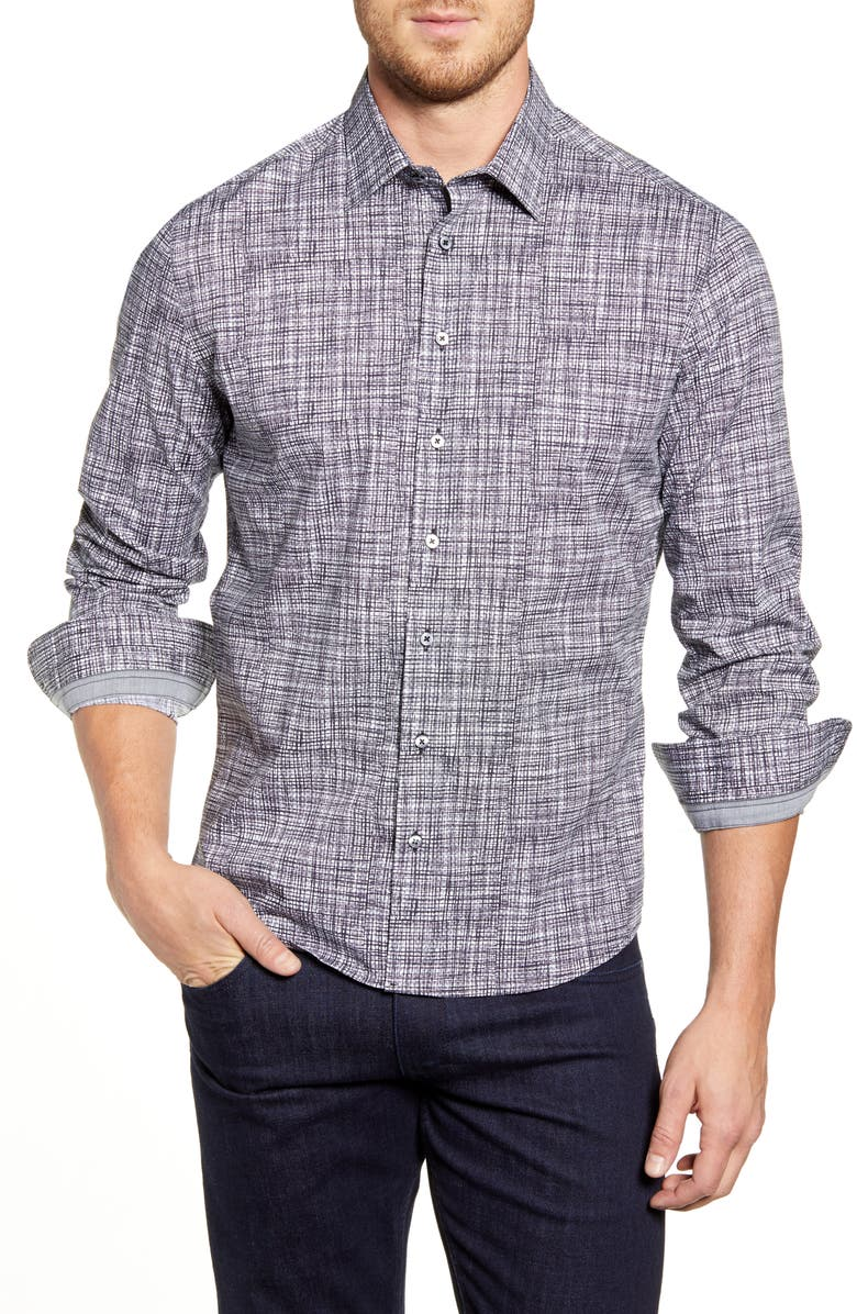 STONE ROSE Regular Fit Abstract Print Button-Up Sport Shirt, Main, color, GREY