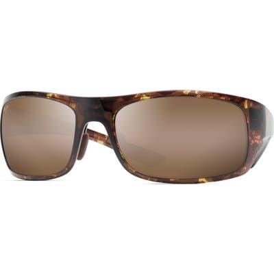 Maui Jim Big Wave 67mm Polarized Wraparound Sunglasses - Olive Torotise