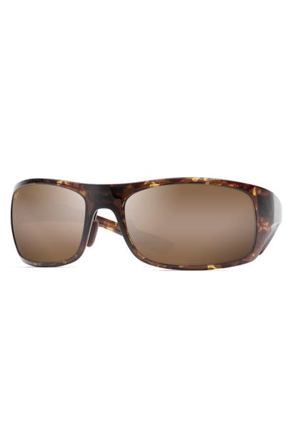 Maui Jim Sunglasses BIG WAVE 67MM POLARIZED WRAPAROUND SUNGLASSES - OLIVE TOROTISE