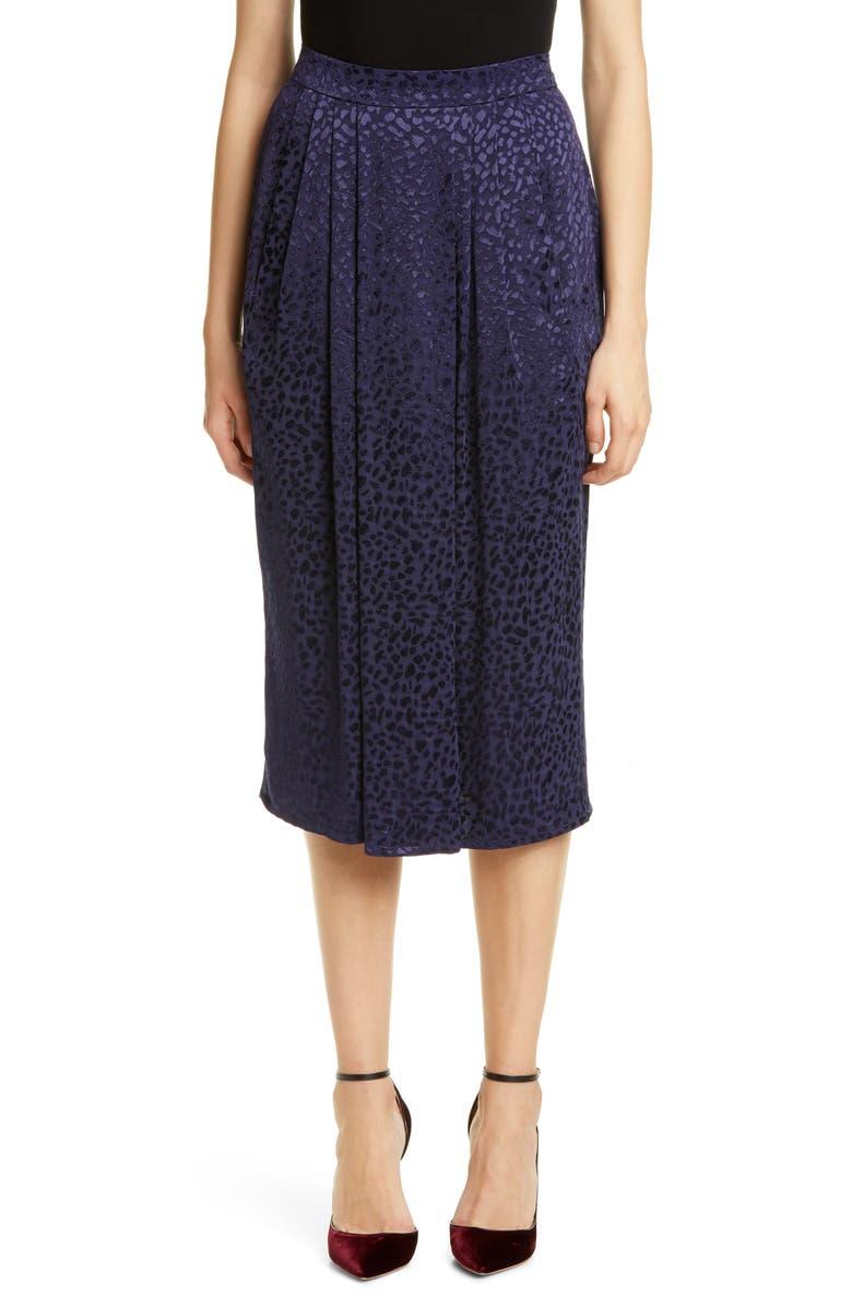 ROSEANNA Spot Jacquard Midi Skirt, Main, color, MARINE