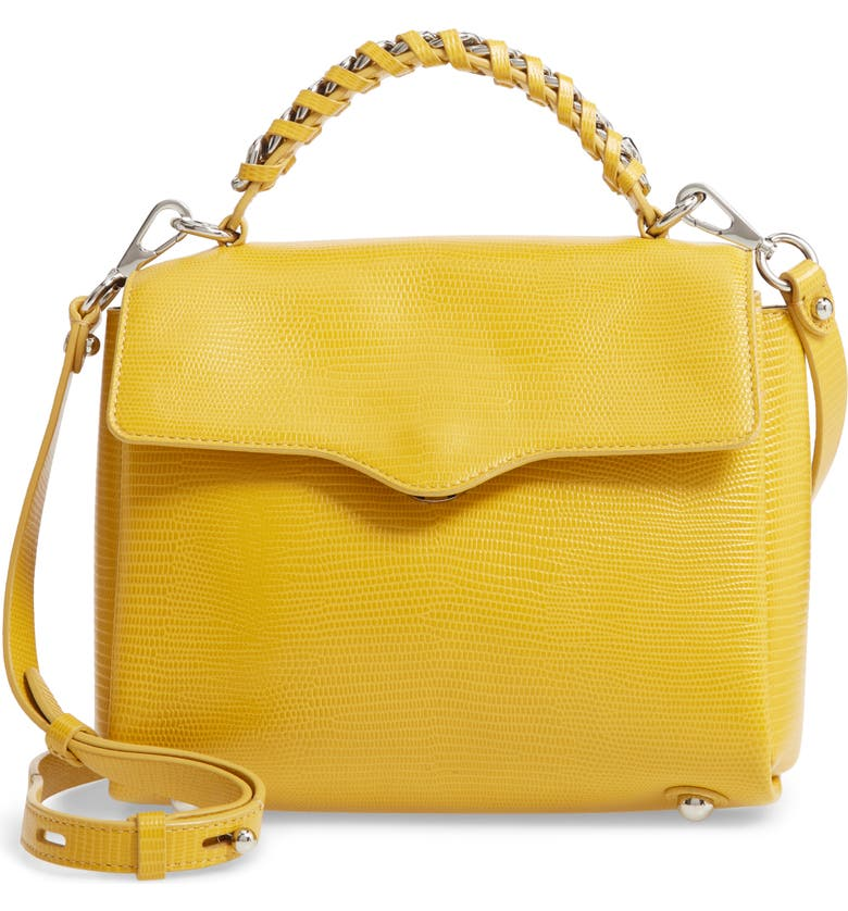 REBECCA MINKOFF Chain Lizard Embossed Leather Satchel, Main, color, SUNFLOWER