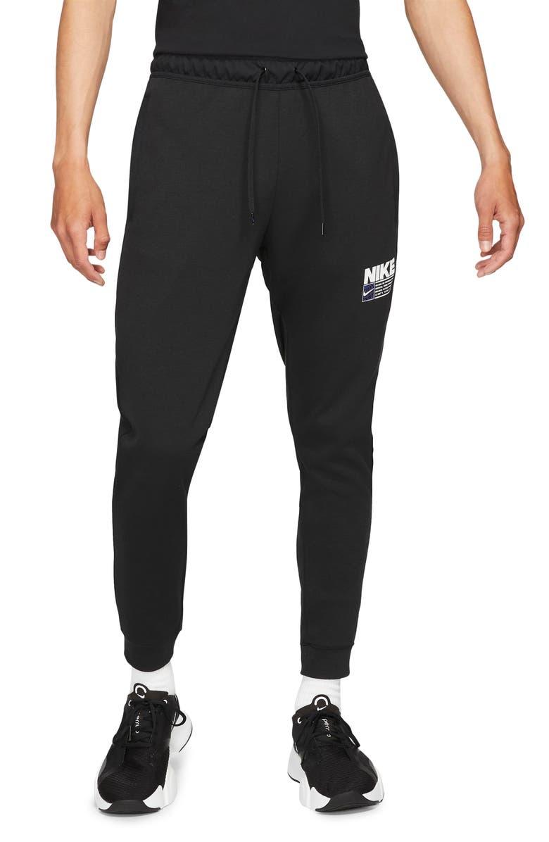 NIKE Dri-FIT Tapered Pocket Training Pants, Main, color, BLACK/ BLACK