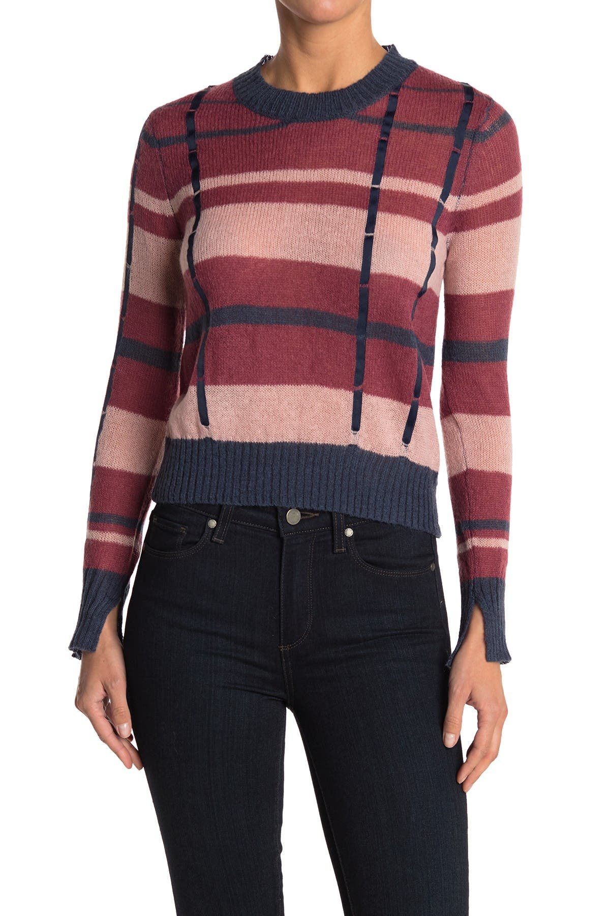 Image of Ella Moss Denise Check Knit Sweater